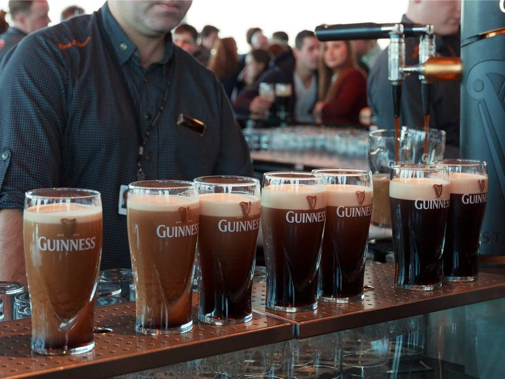 Pints of Guinness in a bar in Dublin, Ireland