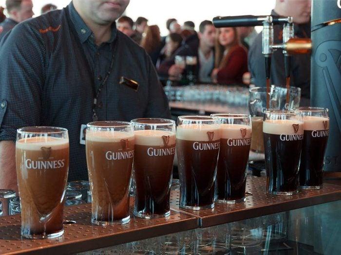 Pints of Guinness in a bar in Dublin, Ireland