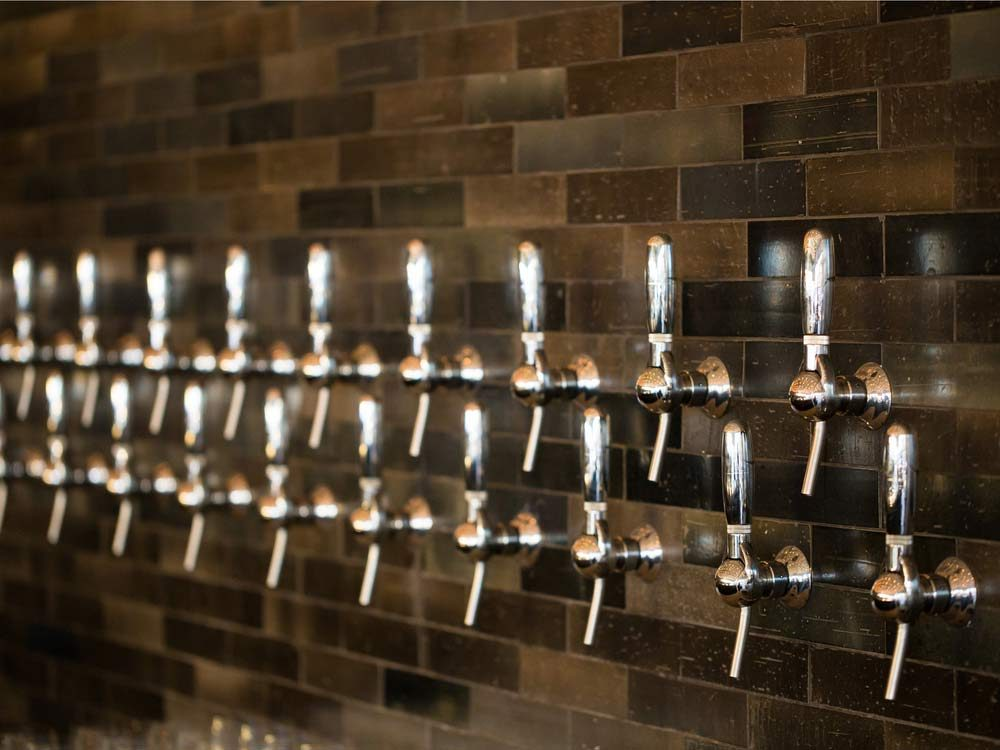 Silver beer taps in Portland, Oregon, USA