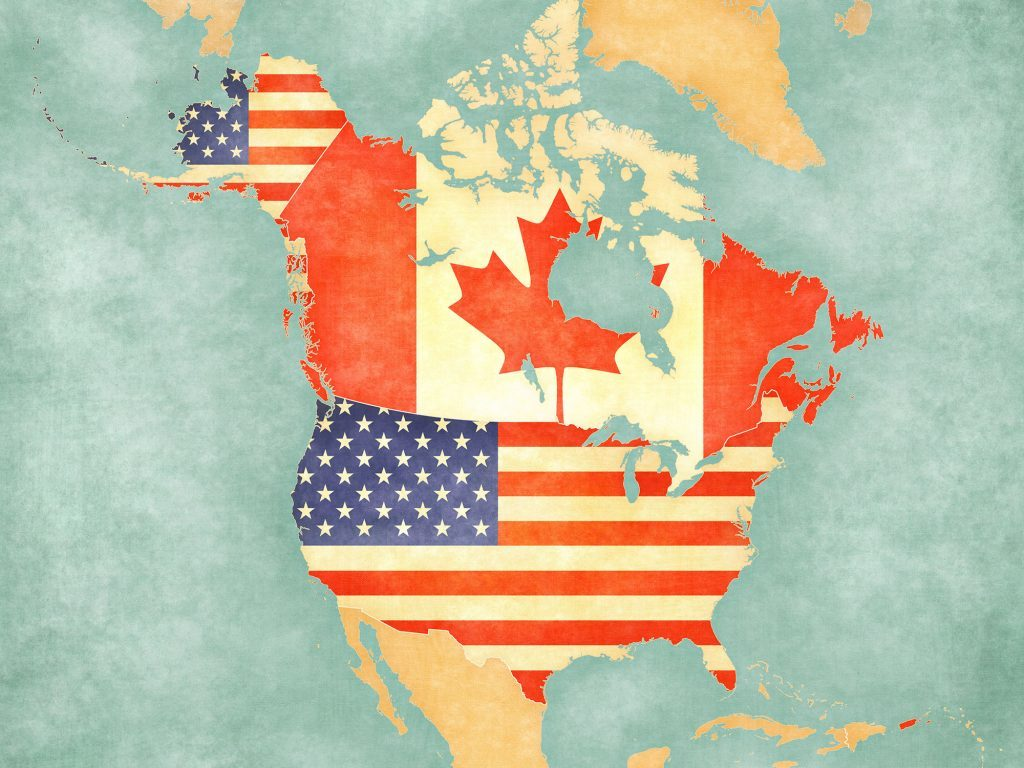Map of Canada and the United States