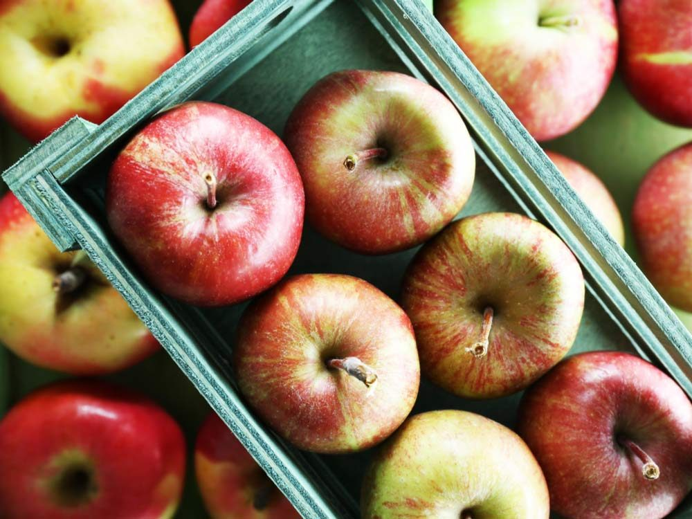 Tray of red apples