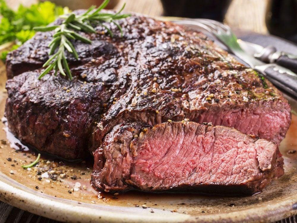 Medium rare rib eye steak