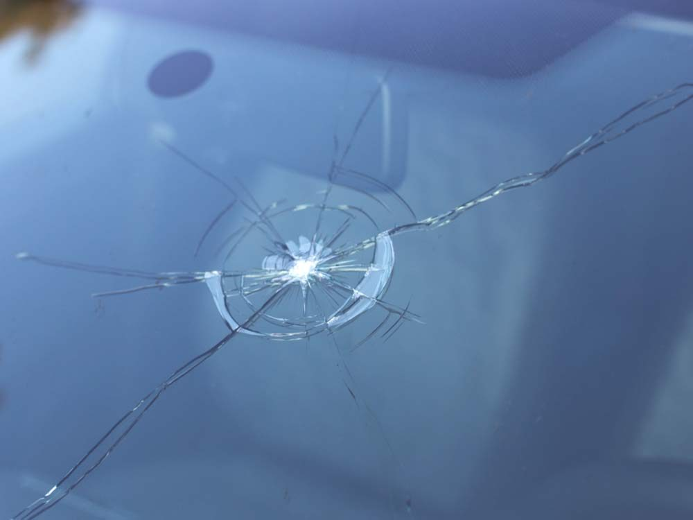 Cracked car windshield