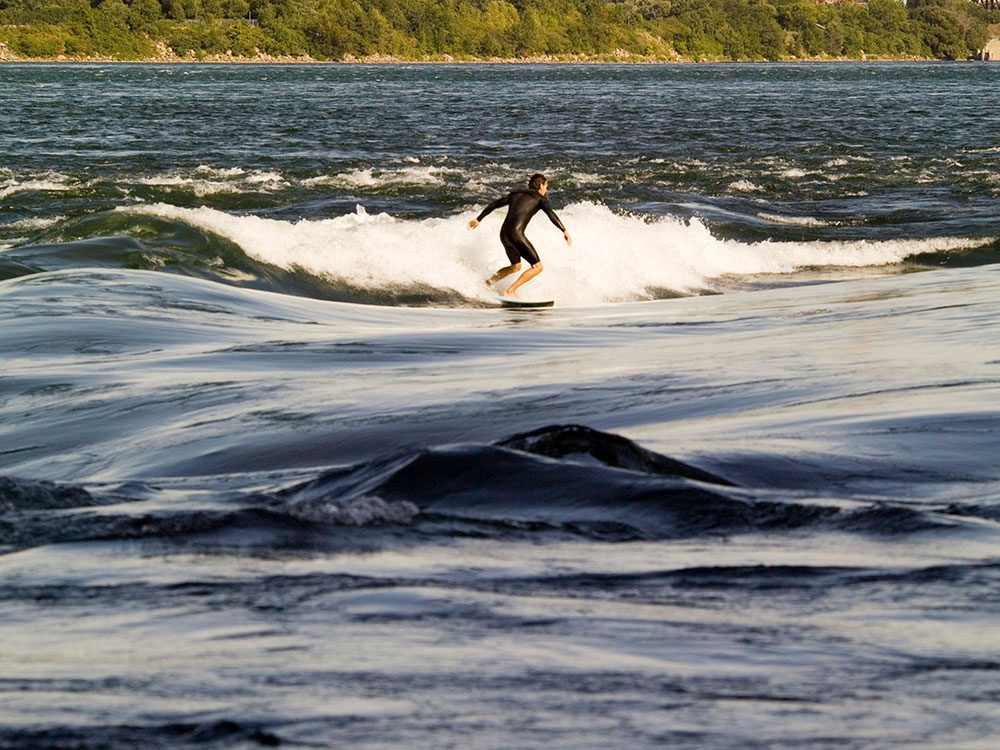 River surfing near Habitat 67 in Quebec