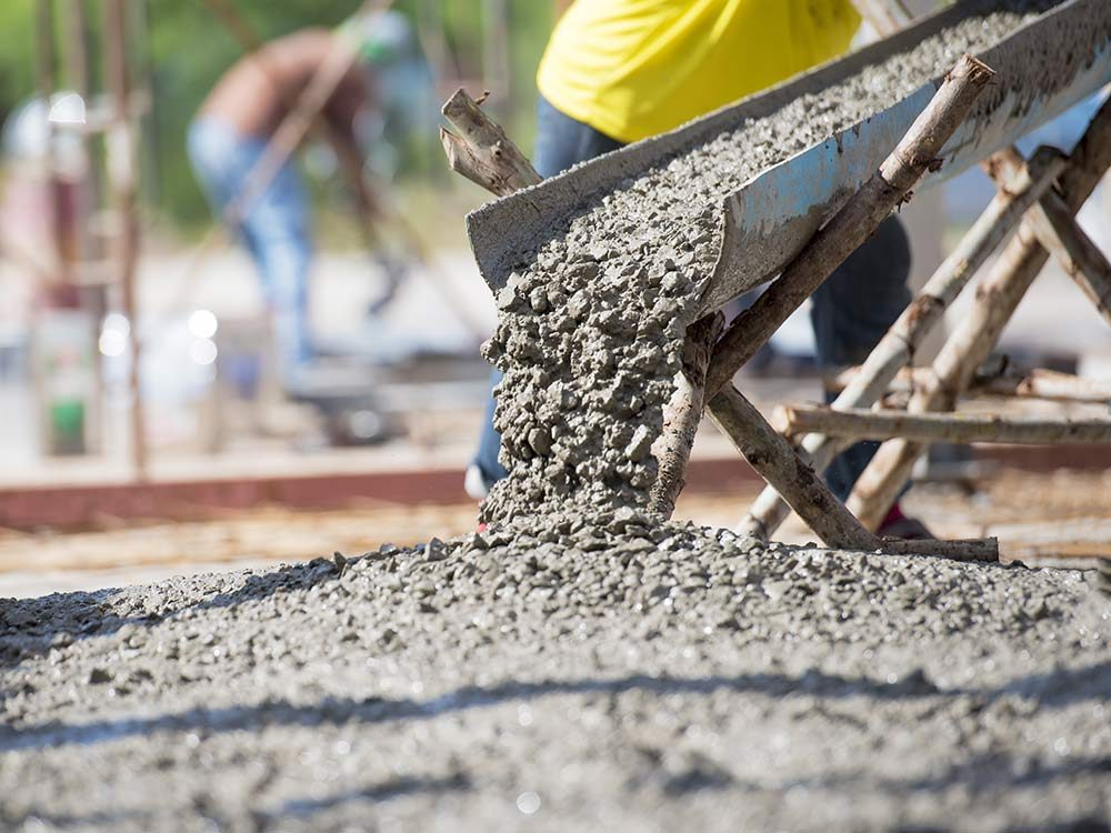 Concrete being poured on construction site