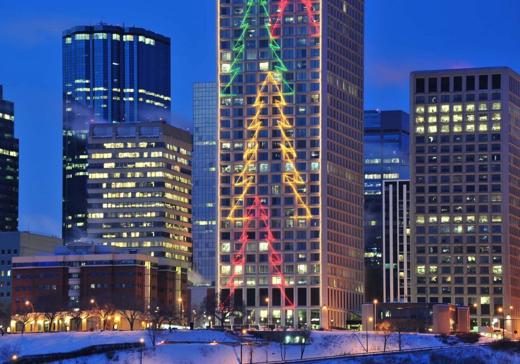Christmas lights on office buildings in Edmonton