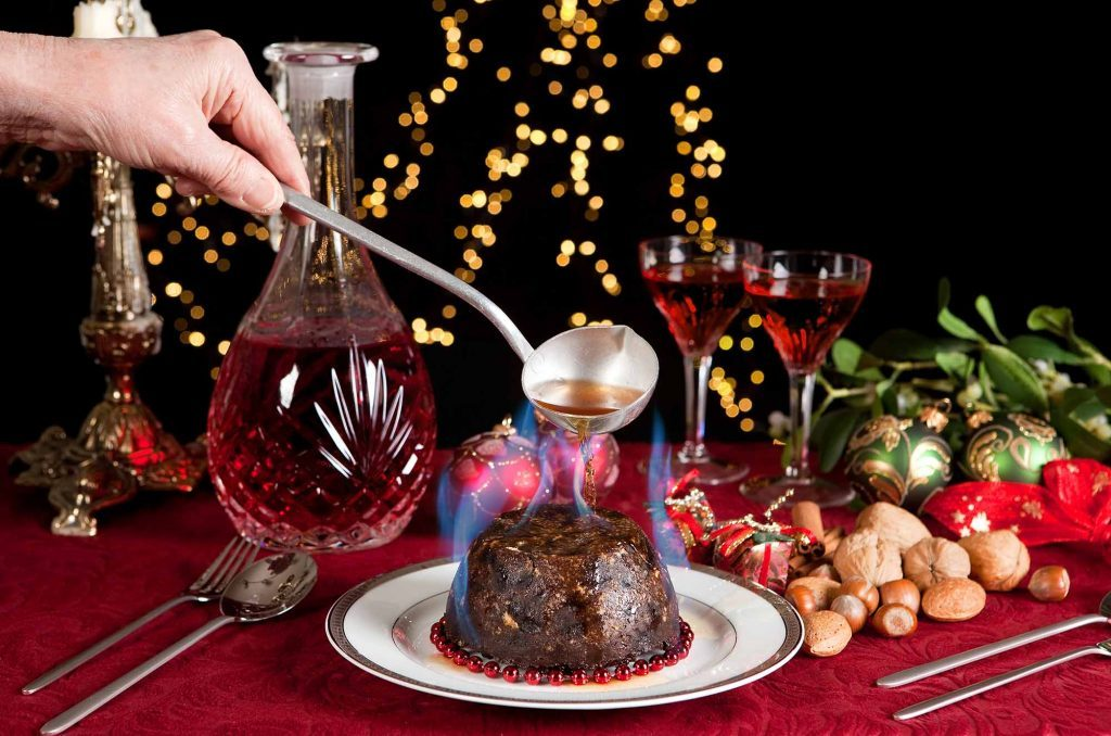 Christmas pudding is one of England's holiday food traditions