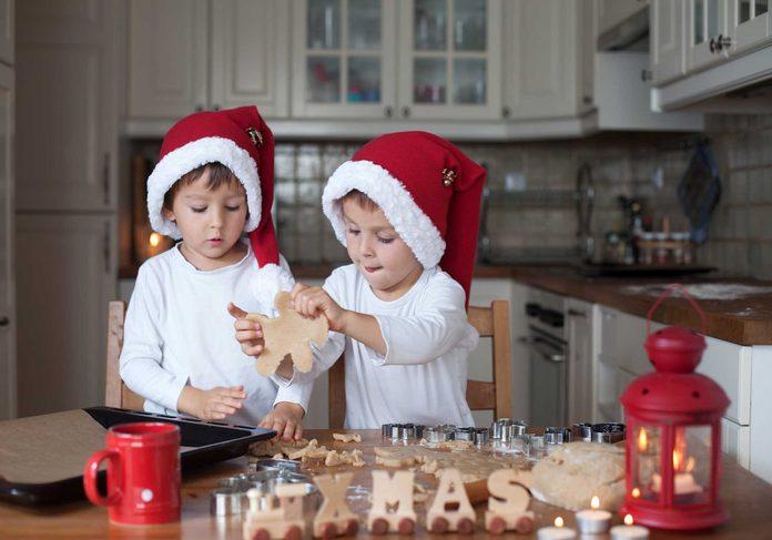 Children making dessert