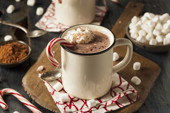 Candy cane in hot chocolate