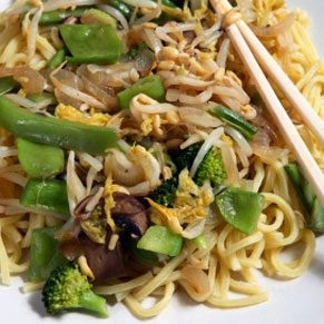 Hong Kong-Style Chow Mein with Pork and Green Vegetables