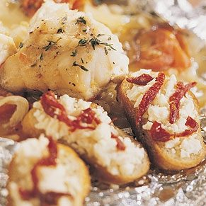 Monkfish with Feta Crostini