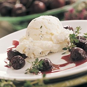 Thyme Ice Cream With Cherry Sauce