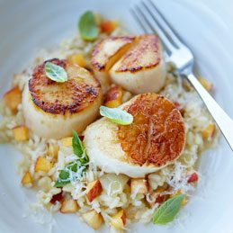 Ontario Peach Risotto with Zesty Lemon Scallops
