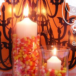 Candle Holders with Candy Corn
