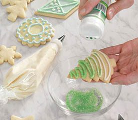 3 flocking sugar cookies