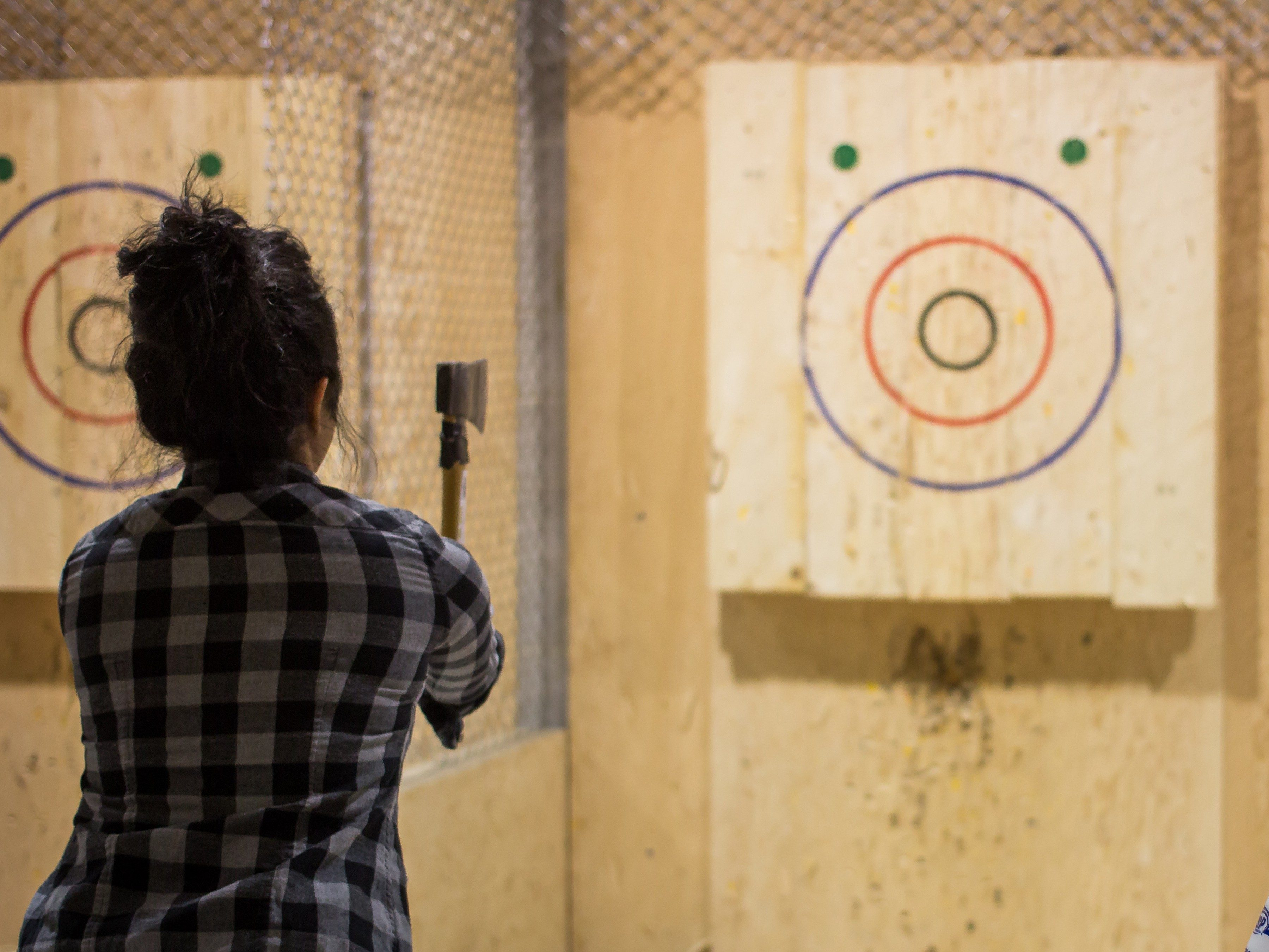 32. Axe throwing