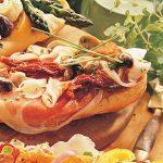 Bruschetta with Prosciutto, Mushrooms and Cheese