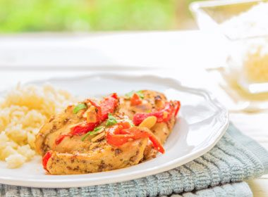 Orange-Flavored Chicken With Sweet Pepper & Asparagus