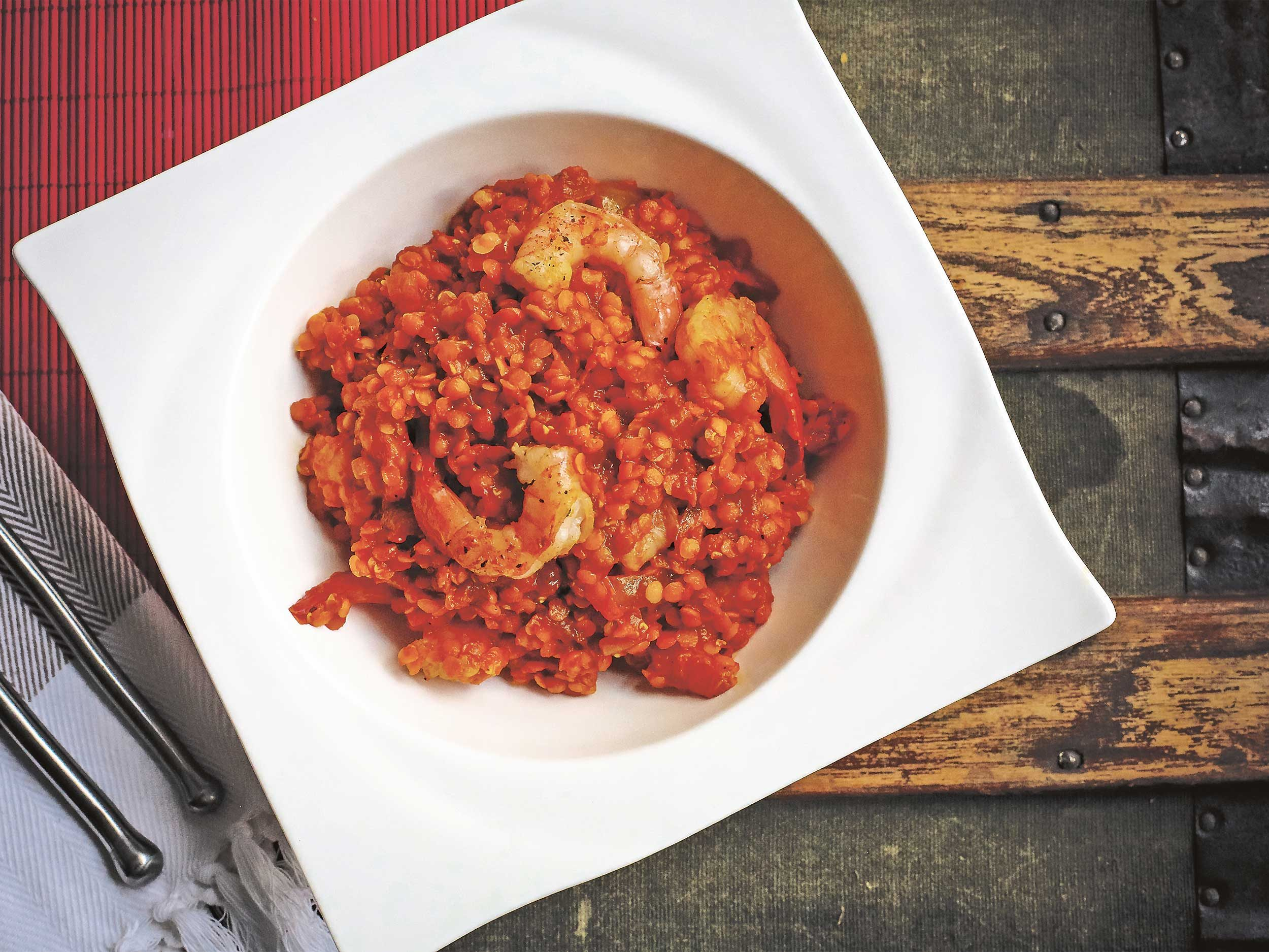 Curried Red Lentils With Shrimp or Tofu