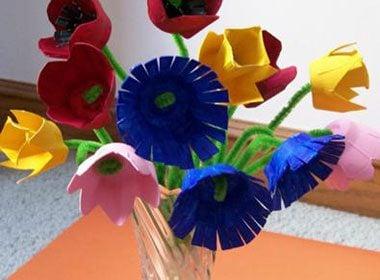Easter Egg Carton Flowers