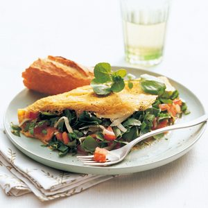 Watercress, Cheddar, and Tomato Omelet