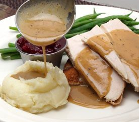 7. Pour the Gravy and Sauces Lightly
