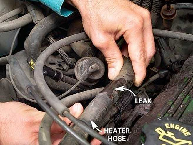 2. Look for a leak along the length of your heater hose