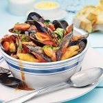 Mussels With Tomatoes, White Wine and Garlic