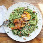 Parsley Almond Pesto Pasta With Roasted Squash