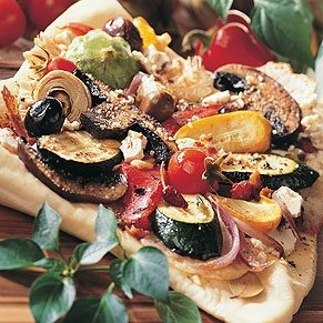 Pizza with Roasted Vegetables and Feta Cheese