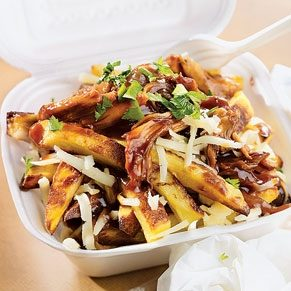 Poutine With Braised Chicken in BBQ Sauce and Cheddar