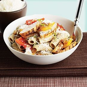Red Fife Wheat Pasta With Sweet Peppers and Grilled Chicken