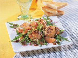 Seared Sea Scallops and Grapefruit Salad With Mustard Vinaigrette