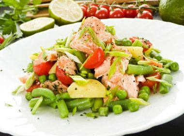 Salmon Salad with Fresh Peas and Dill