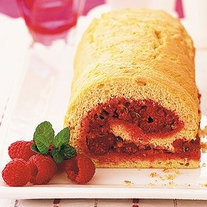 Raspberry and Passion Fruit Sponge Roll