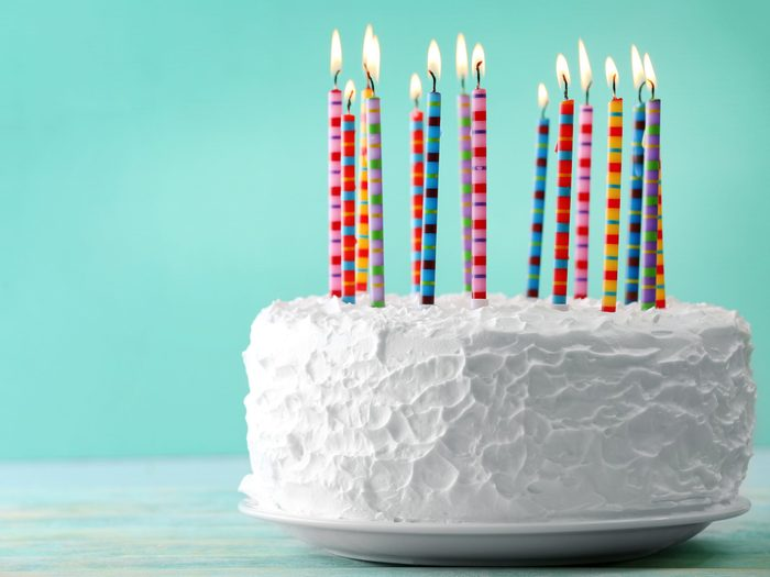 4. Use marshmallows to anchor birthday cake candles