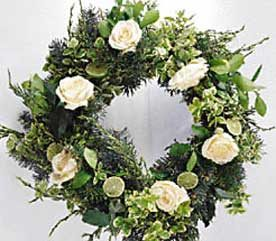 2. Evergreen, Rose and Lime Wreath