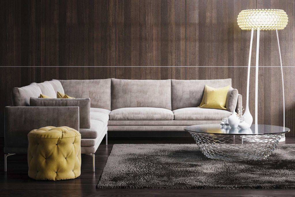 Living room with designer sofa