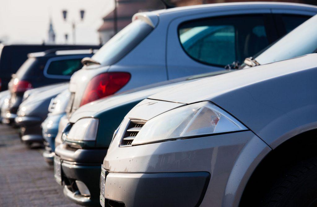 Row of new cars at dealership