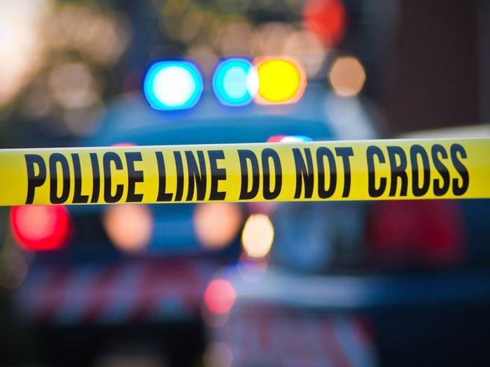 Crime scene with Do Not Cross tape