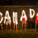 The word Canada in sparklers in time lapse photography as part of Canada Day celebration
