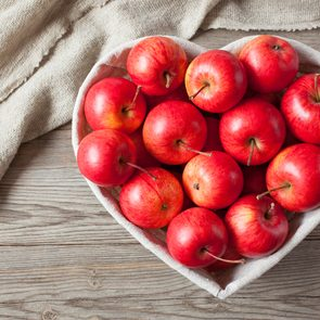 Health benefits of apples - apples in heart shaped pan