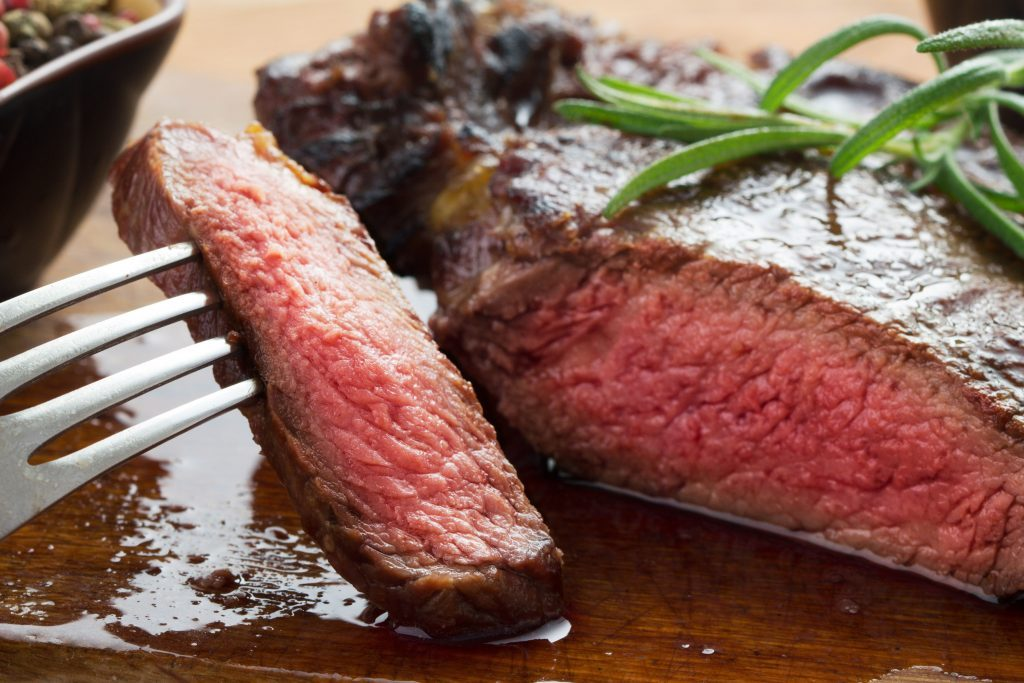 Close-up of rib eye steak