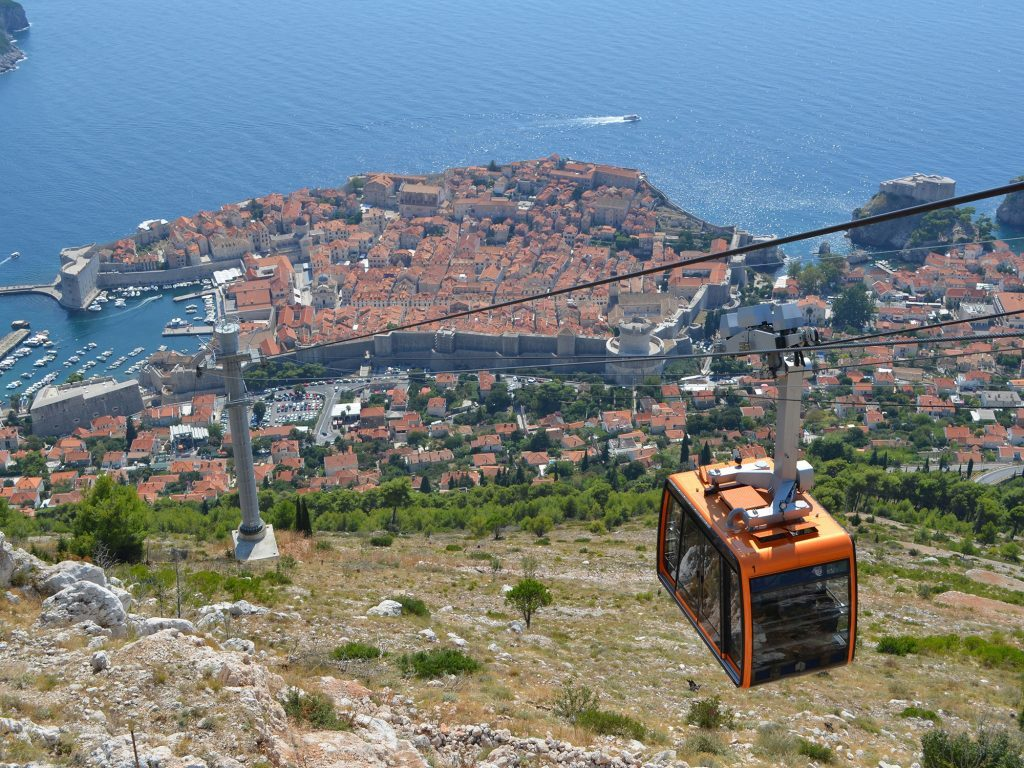 The Srd Mountain cable car in Dubrovnik