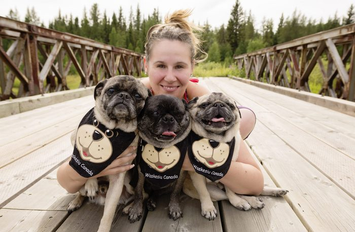 Owner with three pugs