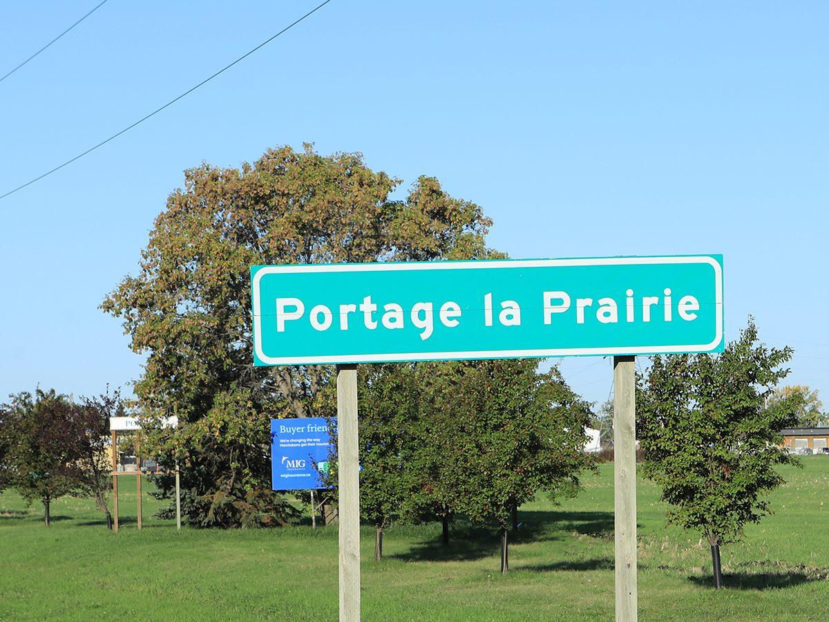Portage la Prairie Manitoba sign