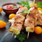 Lemon Chicken And Vegetable Skewers