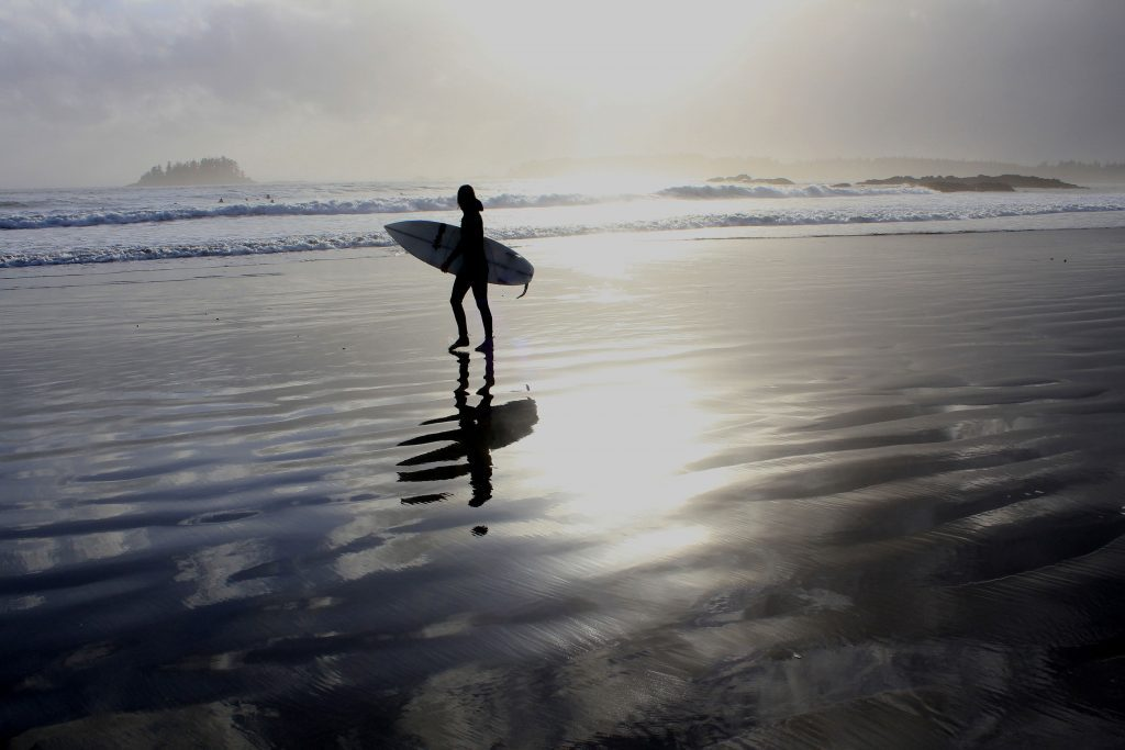 Woman surfing at Tofino Beach