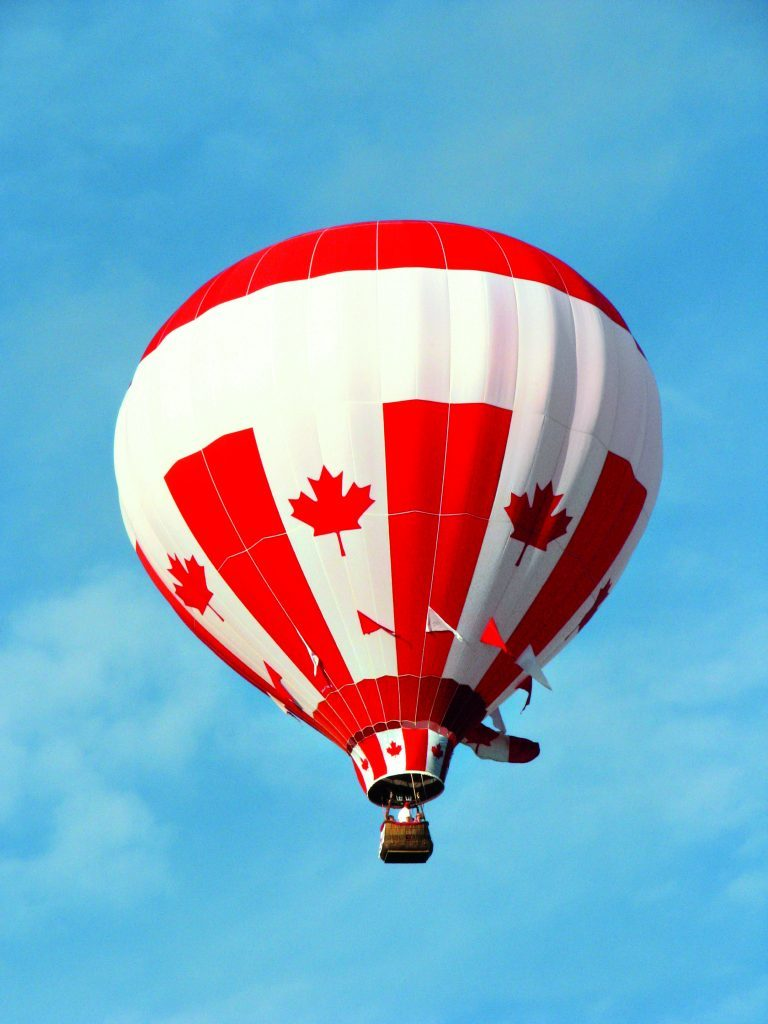 Hot air balloon with Canadian flags