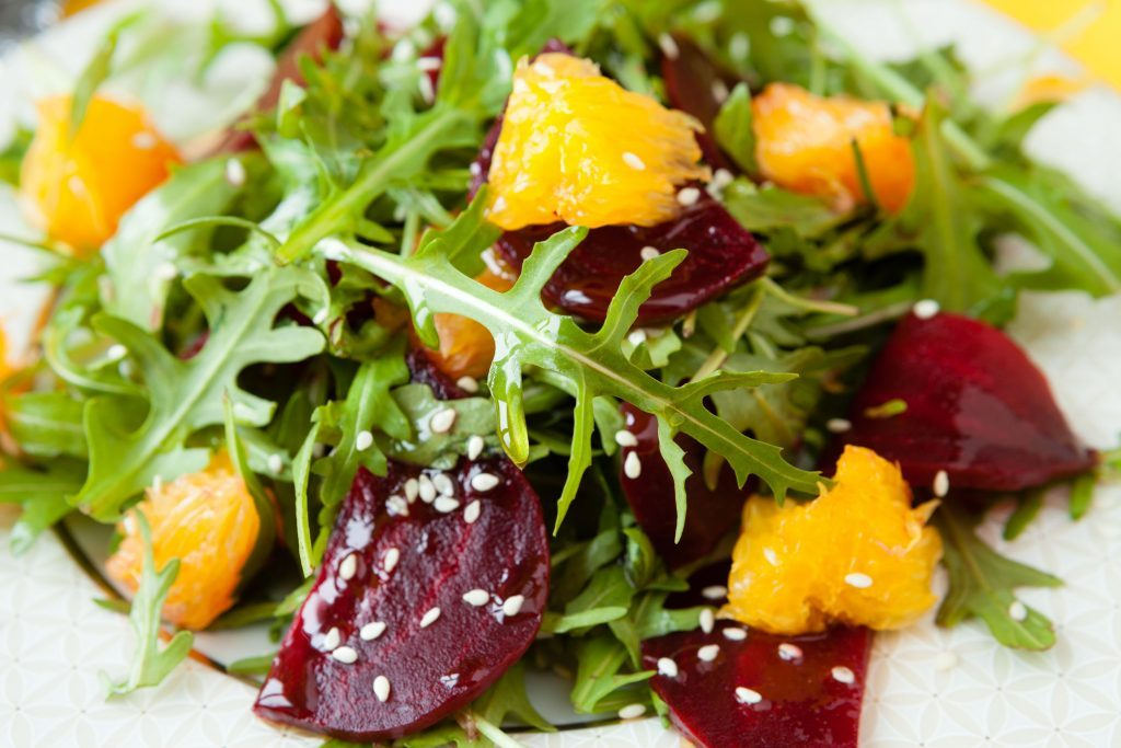 Arugula salad with Asian pear and roasted beets